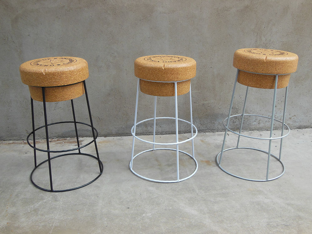 Tall Champagne Cork Bar Breakfast Bar Stools White Frame