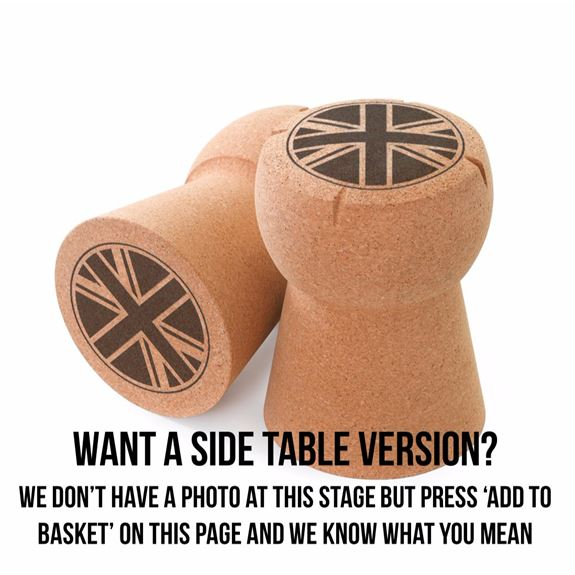 Giant Champagne Cork Side Table - 'Union Jack' artwork