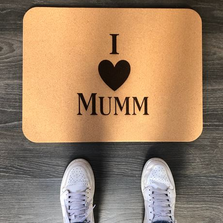 Luxury Large Cork Shower/Bath/Sauna Mat - I LOVE MUMM